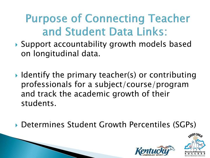 Purpose of Connecting Teacher and Student Data Links: