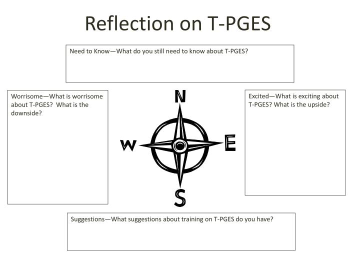 Reflection on T-PGES