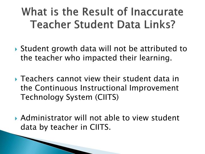 What is the Result of Inaccurate Teacher Student Data Links?