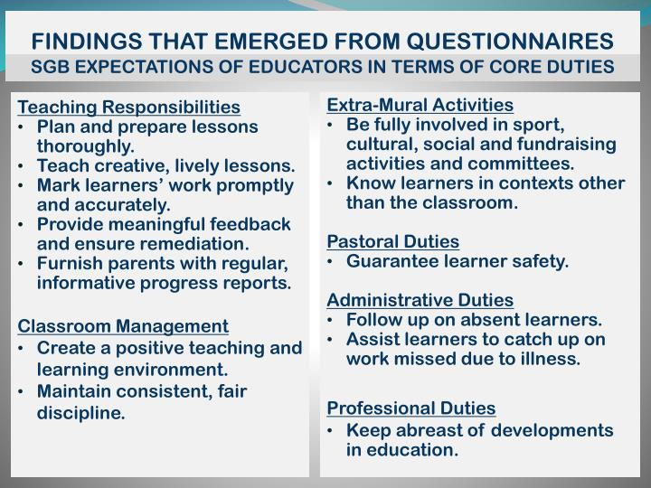 FINDINGS THAT EMERGED FROM QUESTIONNAIRES