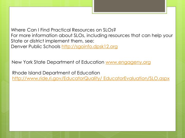 Where Can I Find Practical Resources on SLOs?