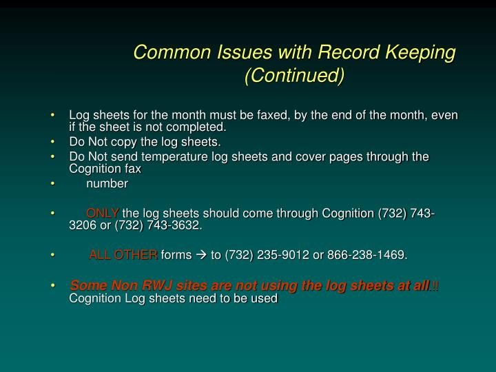 Common Issues with Record Keeping