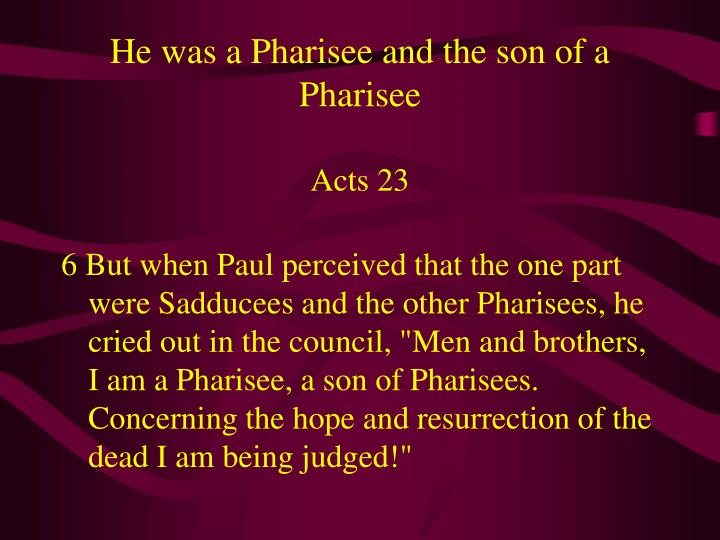 He was a Pharisee and the son of a Pharisee