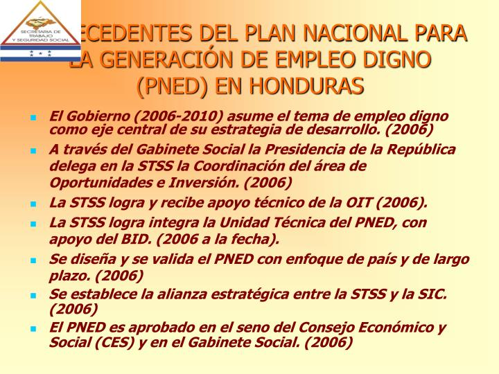 ANTECEDENTES DEL PLAN NACIONAL PARA LA GENERACIÓN DE EMPLEO DIGNO (PNED) EN HONDURAS