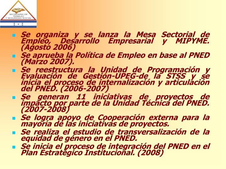 Se organiza y se lanza la Mesa Sectorial de Empleo, Desarrollo Empresarial y MIPYME. (Agosto 2006)