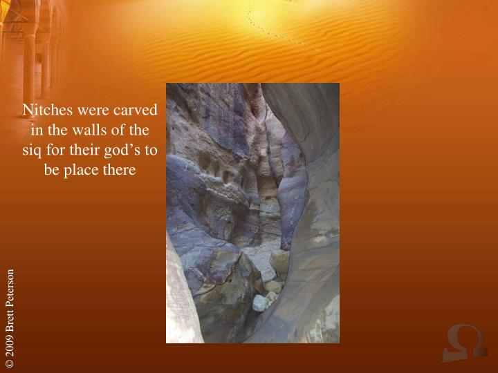 Nitches were carved in the walls of the siq for their god's to be place there