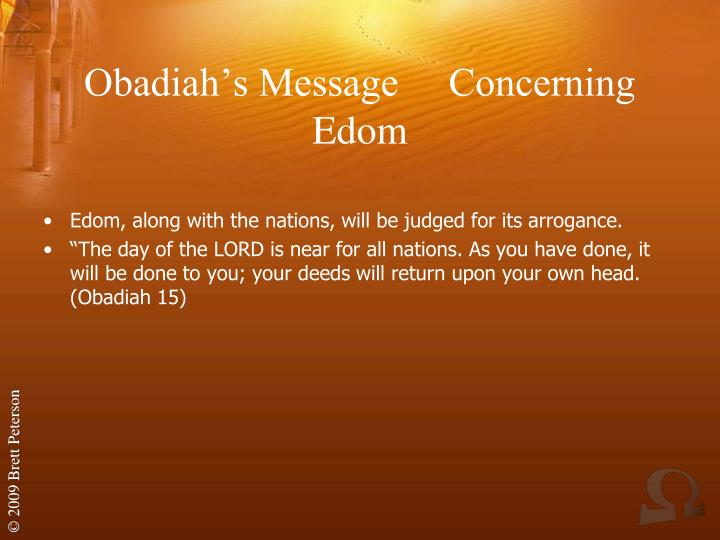 Obadiah's Message     Concerning Edom