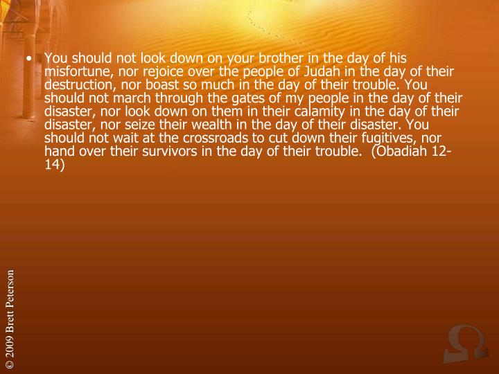 You should not look down on your brother in the day of his misfortune, nor rejoice over the people of Judah in the day of their destruction, nor boast so much in the day of their trouble. You should not march through the gates of my people in the day of their disaster, nor look down on them in their calamity in the day of their disaster, nor seize their wealth in the day of their disaster. You should not wait at the crossroads to cut down their fugitives, nor hand over their survivors in the day of their trouble.  (Obadiah 12-14)
