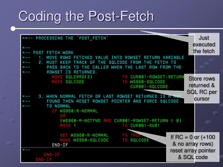 Coding the Post-Fetch