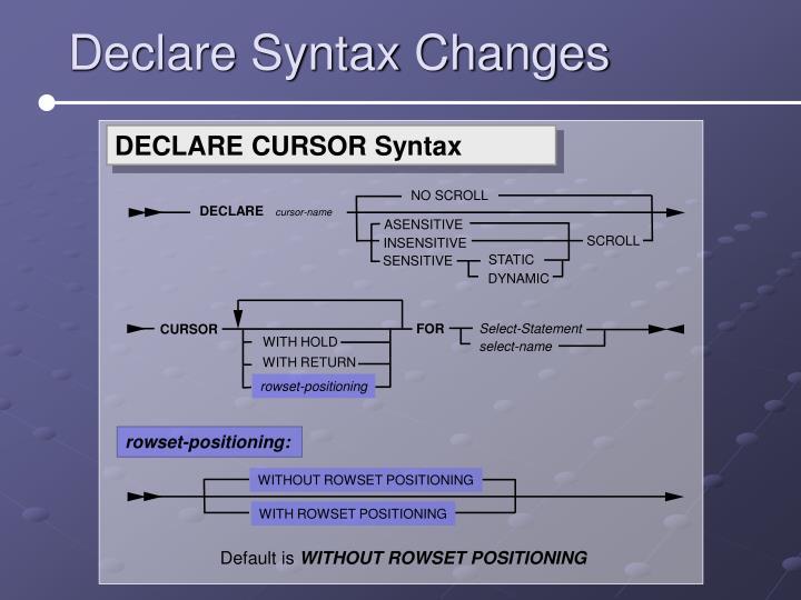 DECLARE CURSOR Syntax
