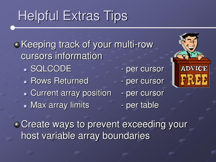 Helpful Extras Tips