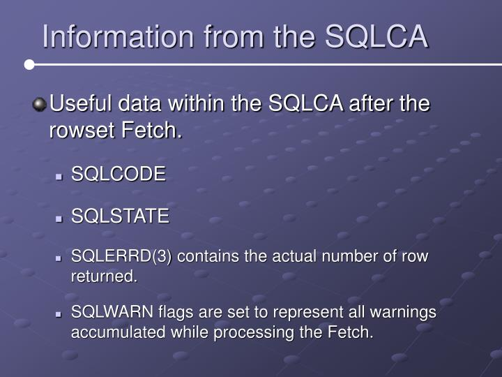 Information from the SQLCA