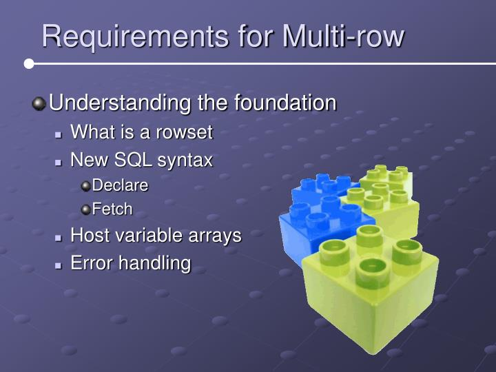 Requirements for Multi-row