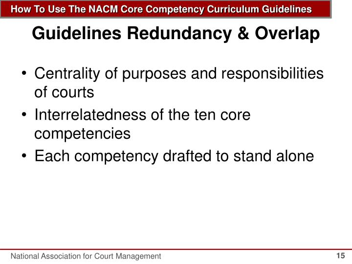 Guidelines Redundancy & Overlap