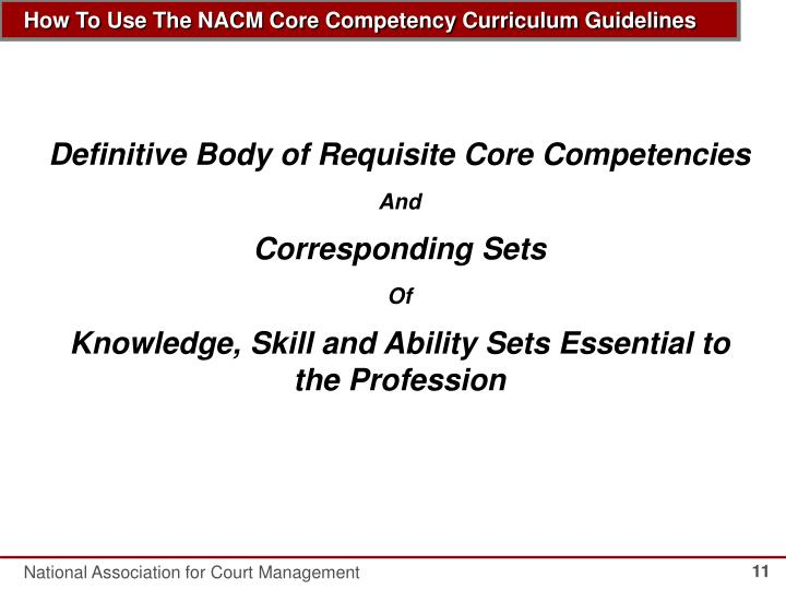 Definitive Body of Requisite Core Competencies