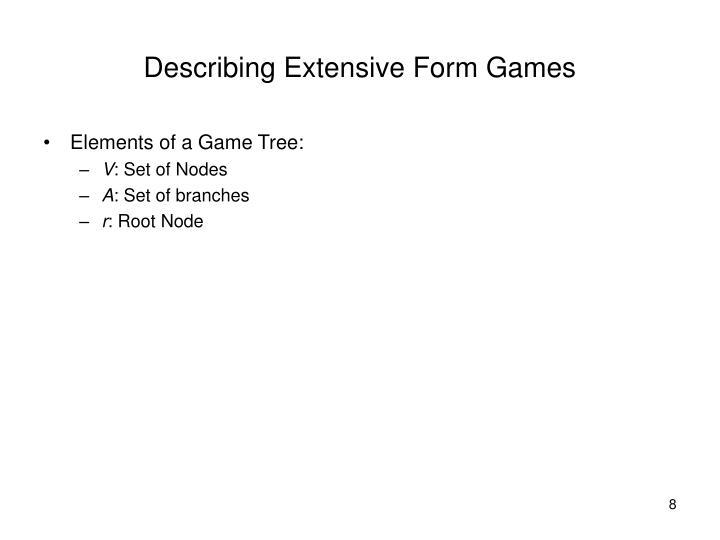 Describing Extensive Form Games
