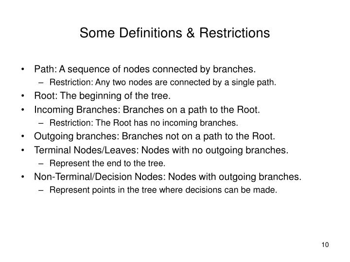 Some Definitions & Restrictions