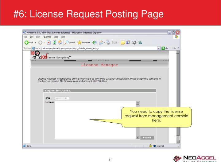 #6: License Request Posting Page