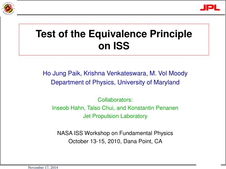 Test of the Equivalence Principle