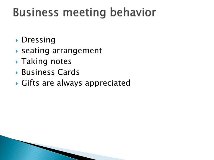 Business meeting behavior