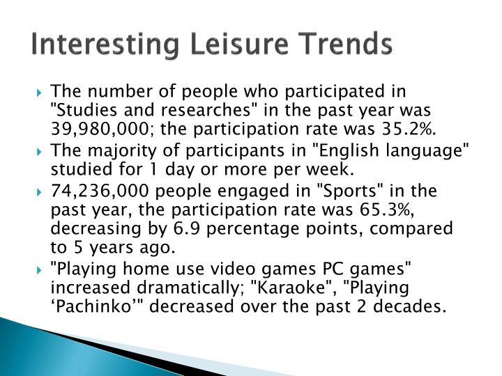 Interesting Leisure Trends