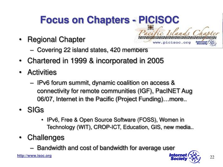 Focus on Chapters - PICISOC