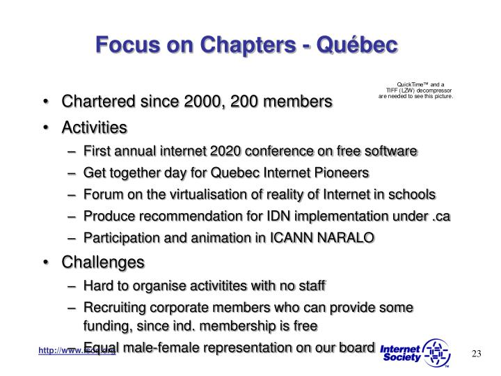 Focus on Chapters - Québec