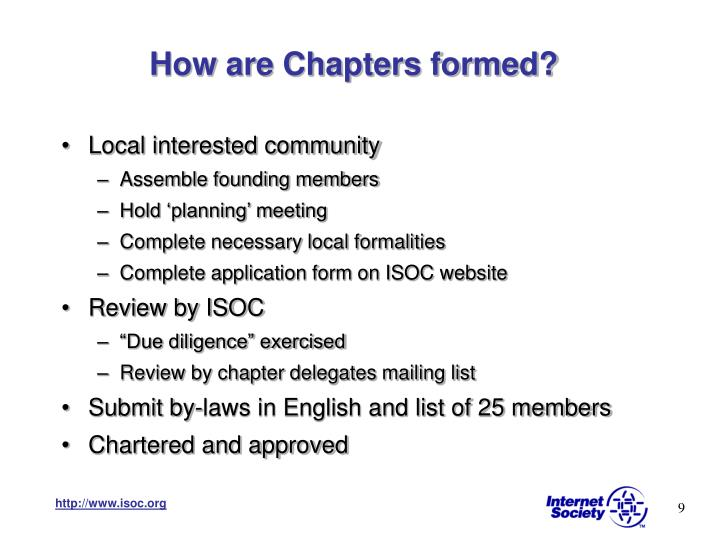 How are Chapters formed?