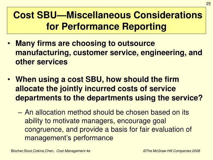 Cost SBU—Miscellaneous Considerations for Performance Reporting