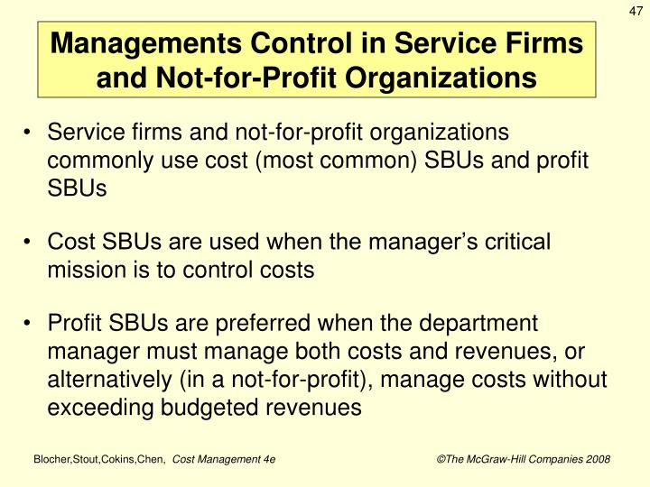 Managements Control in Service Firms and Not-for-Profit Organizations
