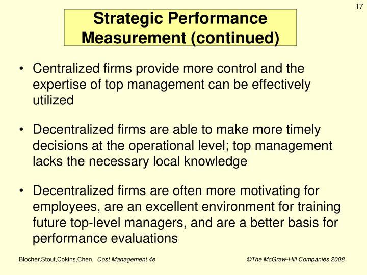 Strategic Performance Measurement (continued)