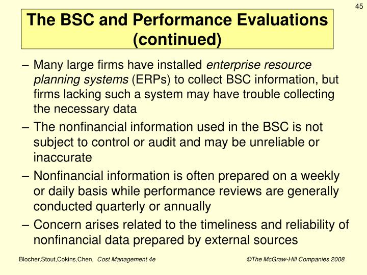 The BSC and Performance Evaluations (continued)