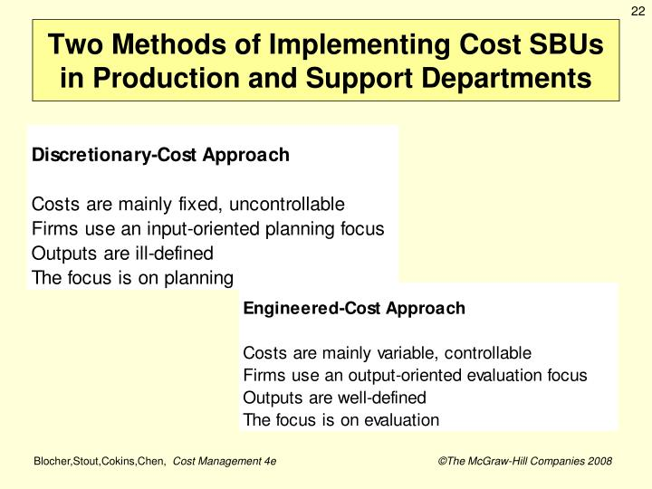 Two Methods of Implementing Cost SBUs in Production and Support Departments