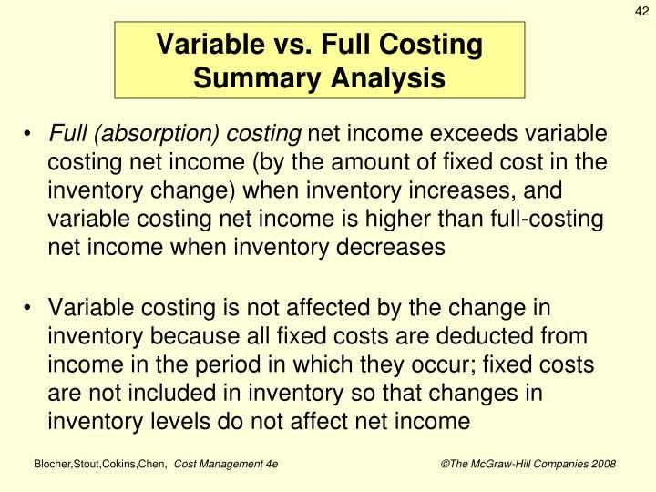 Variable vs. Full Costing Summary Analysis