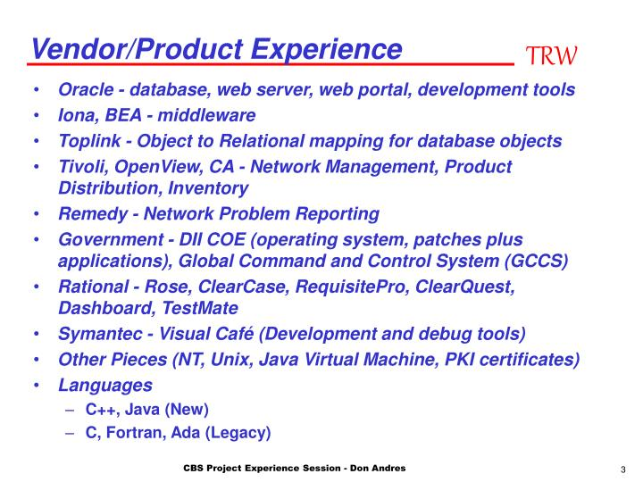 Vendor product experience