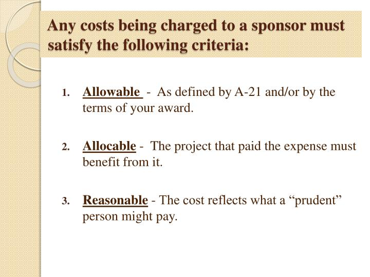 Any costs being charged to a sponsor must
