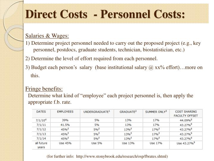 Direct Costs  - Personnel Costs:
