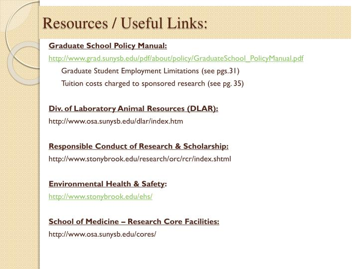 Resources / Useful Links: