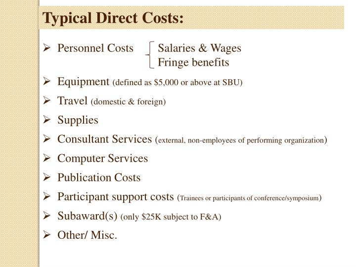 Typical Direct Costs: