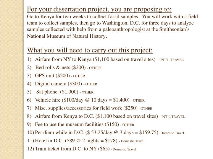 For your dissertation project, you are proposing to: