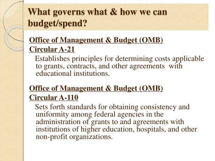 What governs what & how we can