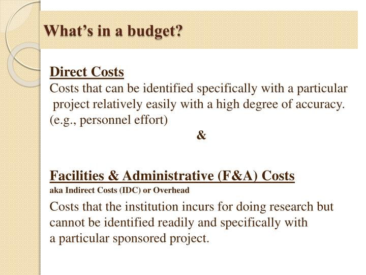 What's in a budget?