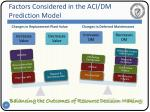 factors considered in the aci dm prediction model
