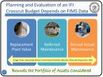 planning and evaluation of an ifi crosscut budget depends on fims data