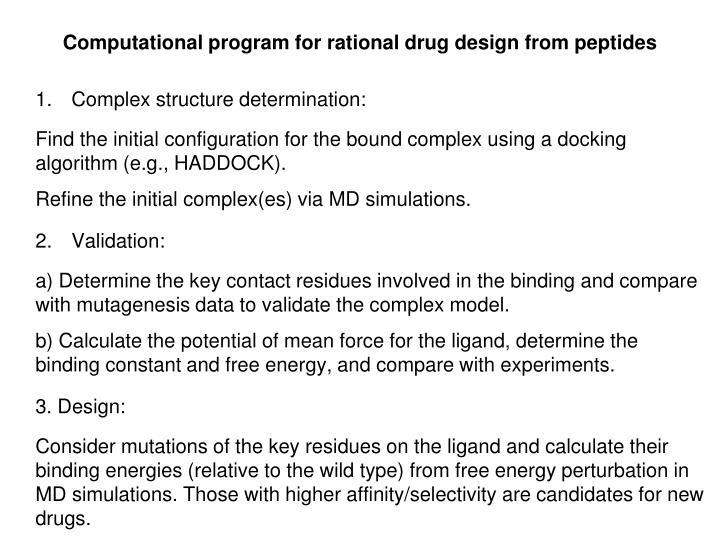 Computational program for rational drug design from peptides