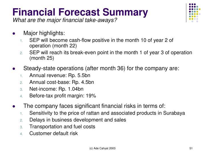 Financial Forecast Summary
