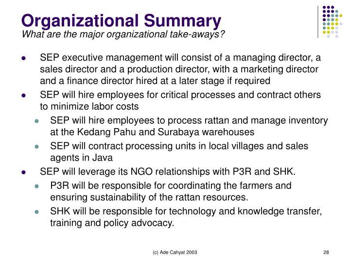Organizational Summary