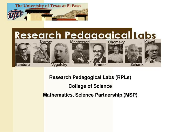 Research Pedagogical Labs (RPLs)