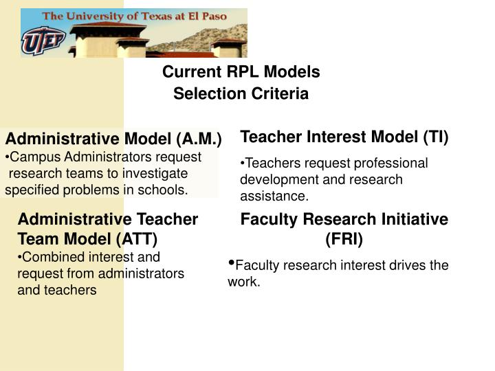 Current RPL Models