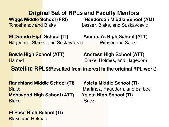 Original Set of RPLs and Faculty Mentors